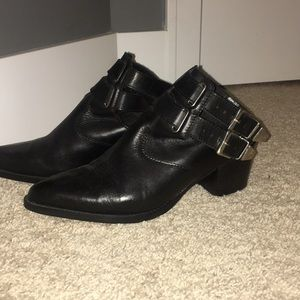 Black leather open back boots